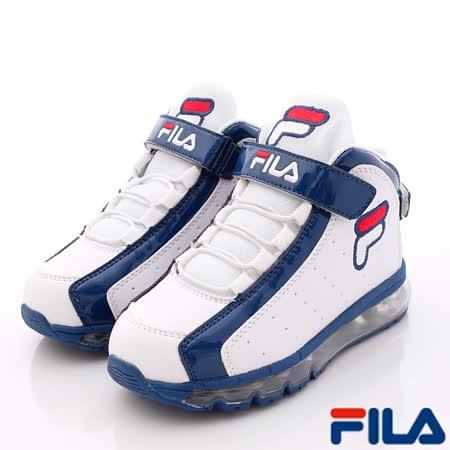 FILA頂級童鞋-全氣墊復古籃球鞋款-813P-103白-(21cm~24cm)