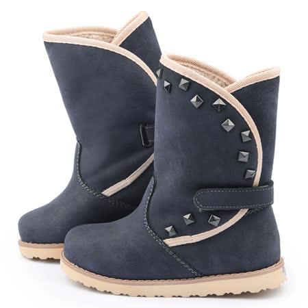 童鞋城堡-日本娃娃 中童 典雅品味保暖絨毛長靴子5356-藍