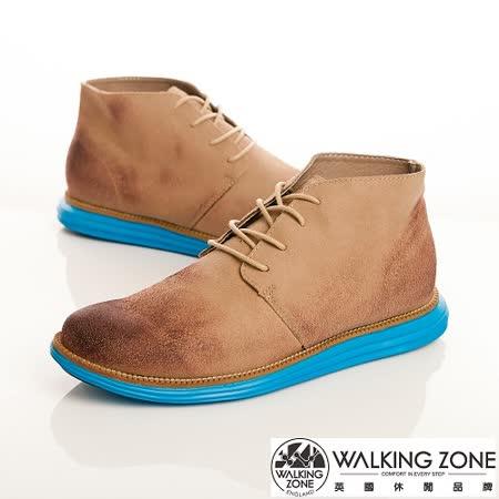 WALKING ZONE(男)真皮潮流撞色款綁帶短靴男鞋-卡其(另有灰、藍)