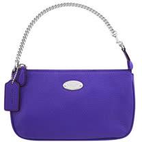 COACH 馬車皮革壓紋鍊帶手提包-紫色