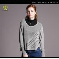 玄太-簡約風摟空織紋短版針織衫(灰)