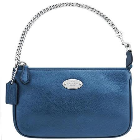 COACH 馬車皮革壓紋鍊帶手提包-藍色