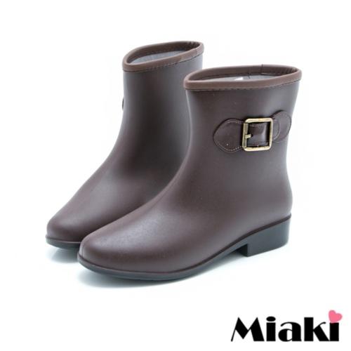 【Miaki】雨靴雨天首選摩登低跟短靴雨鞋 (咖啡色)
