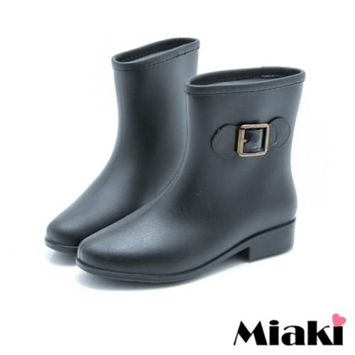 【Miaki】雨靴雨天首選摩登低跟短靴雨鞋 (黑色)