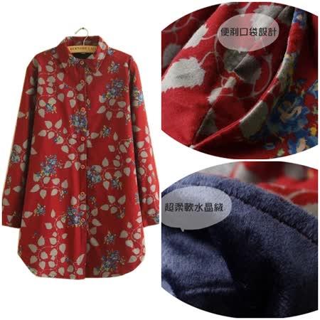 【Maya Collection】回歸自然風格印花加絨寬鬆上衣 (紅色)