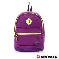 AIRWALK - 繽紛彩漾跳色豬鼻尼龍拼接後背包 - 紫線黃