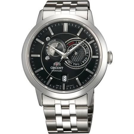 ORIENT 東方錶 雙環繞行黑面日月相機械腕錶-40mm/FET0P002B