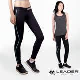 【Leader】女性專用 colorFit運動壓縮緊身褲(藍線條)