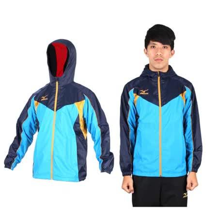 (男) MIZUNO 半長風衣外套- 發熱衣 防潑水 美津濃 水藍丈青