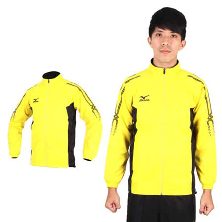 (男) MIZUNO 立領運動外套- 平織 台灣製 黃黑
