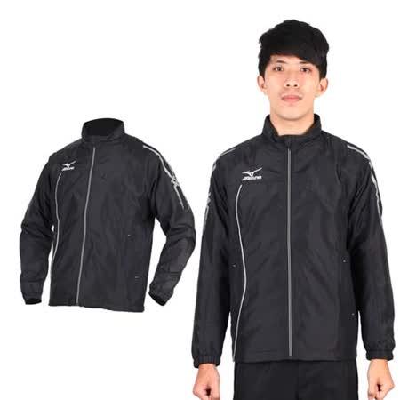 (男) MIZUNO 半長風衣外套- 發熱衣 防潑水 美津濃 黑銀