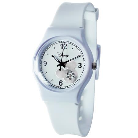 【Disney迪士尼】天使星米奇晶鑽膠錶(白)(大)