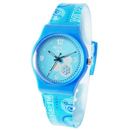 【Disney迪士尼】天使星米奇晶鑽膠錶(藍)(大)