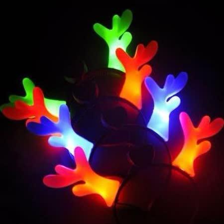 【PS Mall】聖誕節裝飾道具 發光鹿角頭飾髮箍_2個 (J2024)