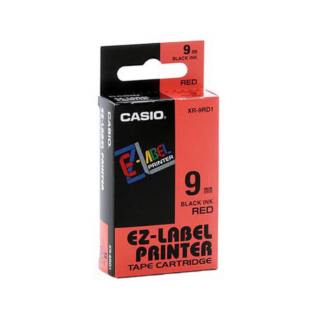 【CASIO 卡西歐】 XR-9RD1 紅底黑字  標誌帶/標籤帶/色帶/標籤機色帶 (9m/m×8M)