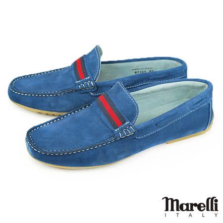 【marelli】手工縫製樂福休閒鞋 藍色(27629-JEANS)