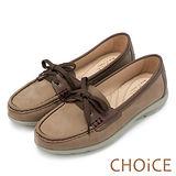 CHOiCE 中性休閒 綁帶輕量雙色莫卡辛休閒鞋-可可