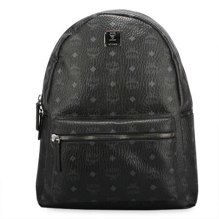 MCM Stark新款經典滿版logo後背包-中/黑色