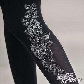 蒂巴蕾Deparee 蒂巴蕾120D超細纖維天鵝絨全彈性褲襪-甜美花朵 顯瘦黑