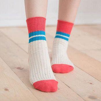 蒂巴蕾 Deparee 流行女棉襪 拼色條紋