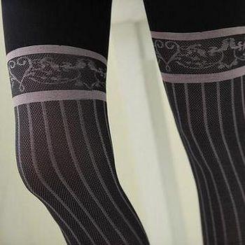 蒂巴蕾Deparee 蒂巴蕾ART 膝上型彈性絲襪-條紋 顯瘦黑