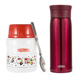 【THERMOS 膳魔師】不鏽鋼保溫杯 0.48L-紅 & Hello Kitty 食物罐0.47L