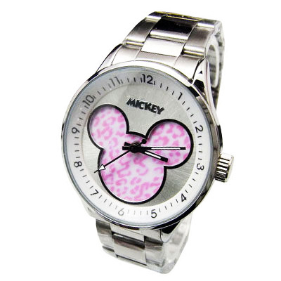 【Disney迪士尼】豹紋米奇系列腕錶---粉豹白