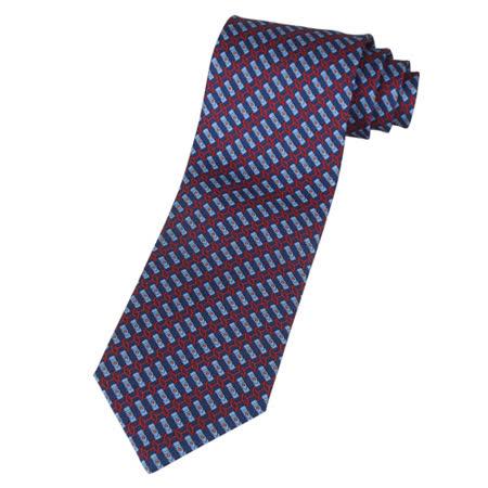 HERMES 馬鞍圖紋領帶(海軍藍+天空藍+橘紅)