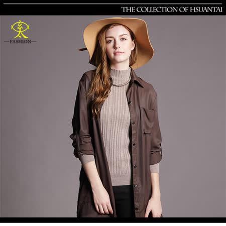 玄太-休閒純色高領柔感百搭條紋針織上衣(卡其)