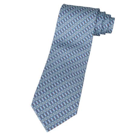 HERMES 馬鞍圖紋領帶(天空藍+藍+橘)