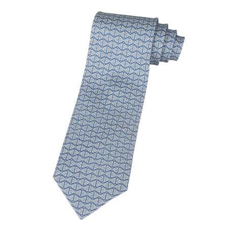 HERMES H圖紋領帶(天空藍+米+海軍藍)