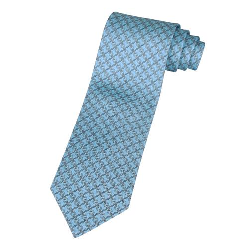 HERMES H鉤環圖紋領帶(天空藍+灰+珍珠白)