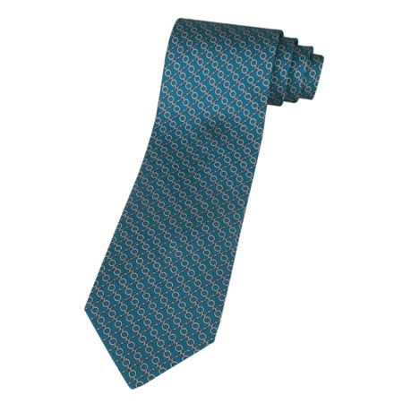 HERMES H鉤環圖紋領帶(孔雀綠+灰+珍珠白)