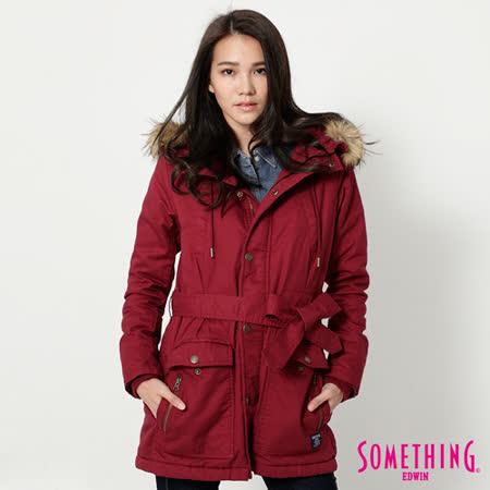 SOMETHING 毛裡舖棉軍裝外套-女-紅色