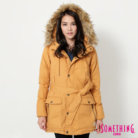 SOMETHING 毛裡舖棉軍裝外套-女-黃色