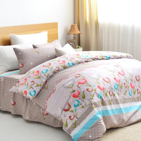美夢元素 天鵝絨雙人四件式 全鋪棉兩用被套床罩組 飄渺花香