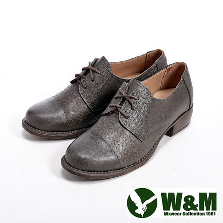 W&M (女)真皮細緻雕花牛津鞋-灰