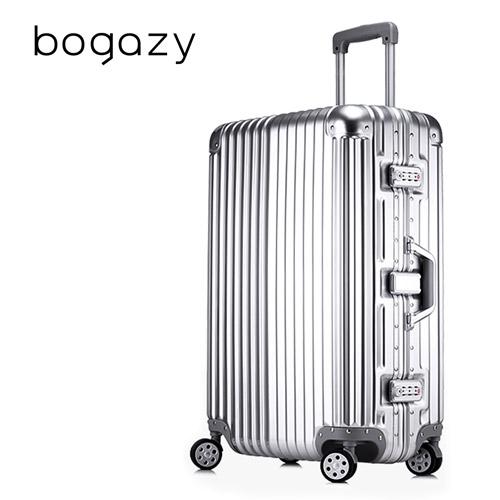 【Bogazy太平洋 sogo 高雄】迷幻森林 29吋鋁框PC鏡面行李箱(紳士銀)