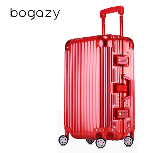 【B狠 愛 買ogazy】迷幻森林 29吋鋁框PC鏡面行李箱(金屬紅)