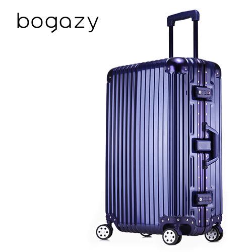 【Bogazy】迷幻森林 26吋鋁框PC鏡面行李箱(sogo 折扣時尚藍)