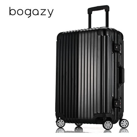【Bogazy】迷幻森林 24吋鋁框PC鏡面行李箱(尊榮黑)