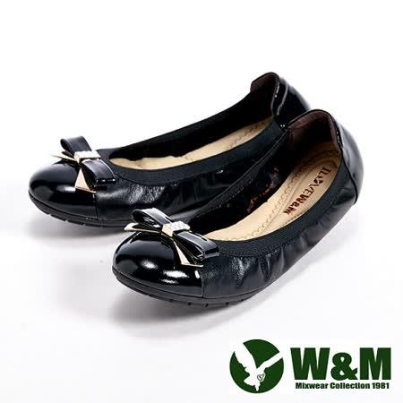 W&M (女)金屬亮鑽蝴蝶結柔軟女鞋-黑