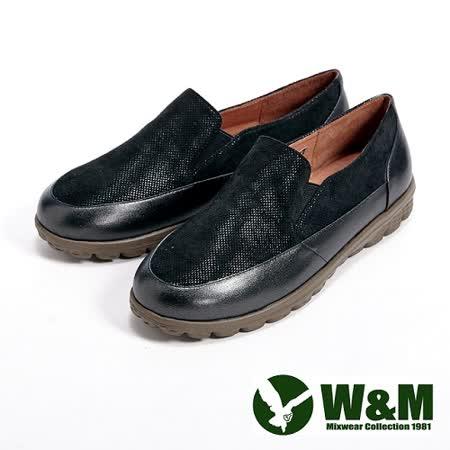 W&M (女)BOUNCE系列 金屬感亮皮休閒女鞋-黑