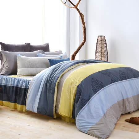 美夢元素 天鵝絨雙人加大四件式 全鋪棉兩用被套床罩組 索思