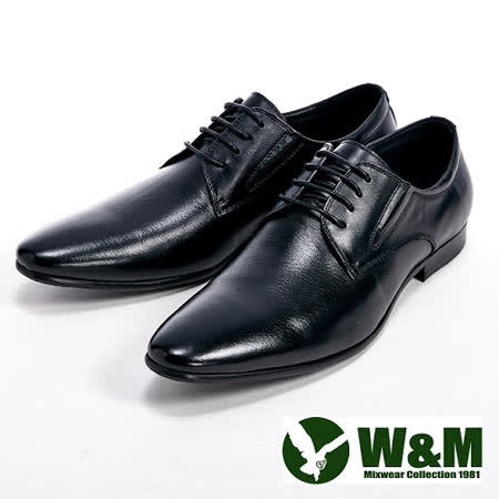 W&M (男)真皮質感紳士尖頭鞋-黑