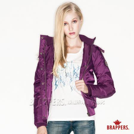 (女) BRAPPERS 女用撞色短版羽絨外套-紫