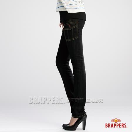 (女) BRAPPERS 新美腳 Royal 系列-女用彈性假口袋AB褲-黑