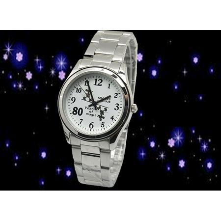 【Disney迪士尼】米奇紀念鋼帶錶(白)