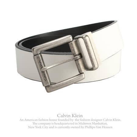 Calvin Klein 新款荔枝紋皮革旋扣穿式雙面皮帶-白/黑-36吋