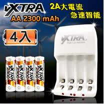 VXTRA 新經濟型2A大電流急速智能充電器+3號高容量2300mAh低自放電池(4顆入)